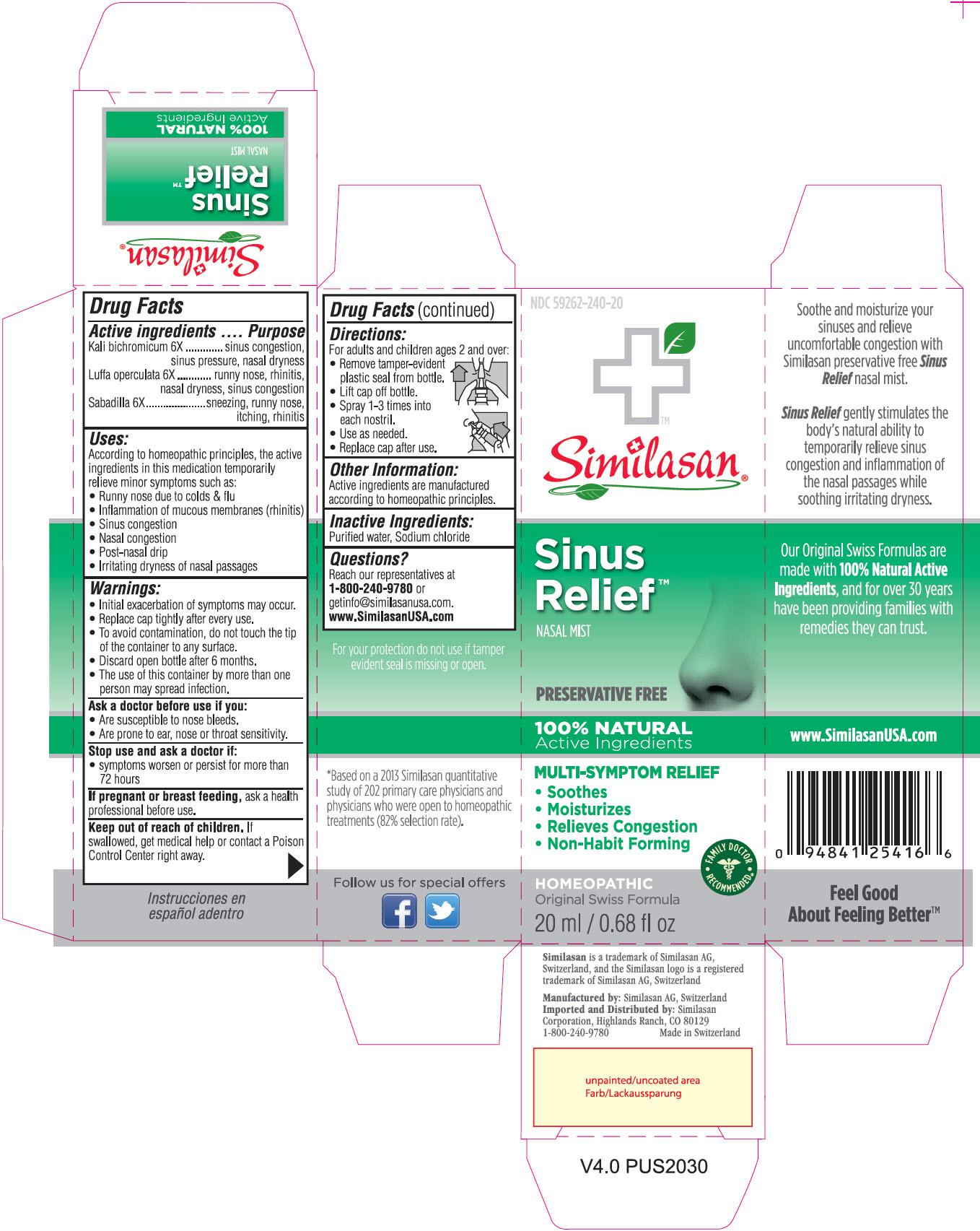 NDC: <a href=/NDC/59262-240-20>59262-240-20</a> Similasan Sinus Relief NASAL MIST PRESERVATIVE FREE 20 ml / 0.68 fl oz