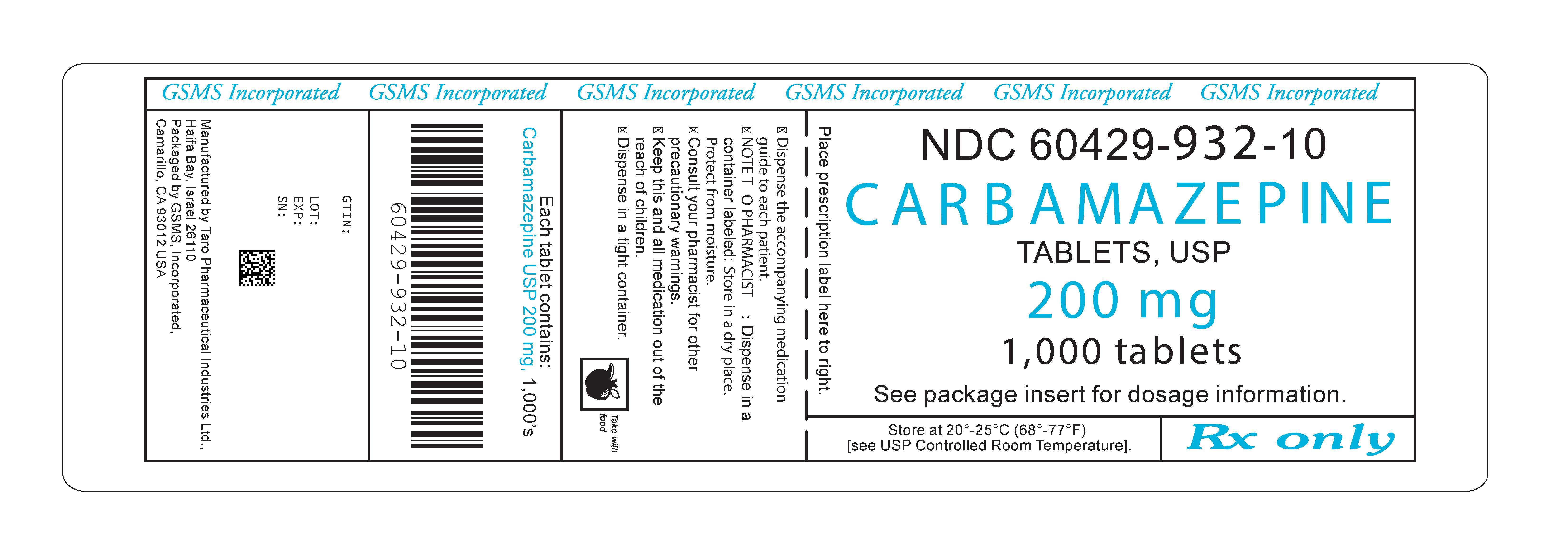 60429-932-10OL - CARBAMAZEPINE 200 MG TABLETS - REV MAY 2011 PMG MAY 2011.jpg