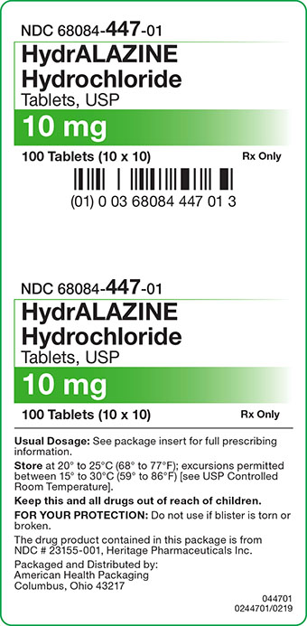 Hydralazine Hydrochloride Tablets 10 mg Carton Label