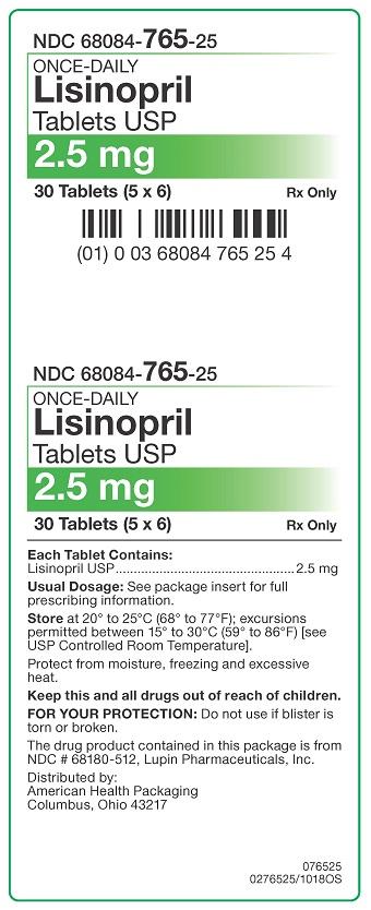 2.5 mg Lisinopril Tablets Carton