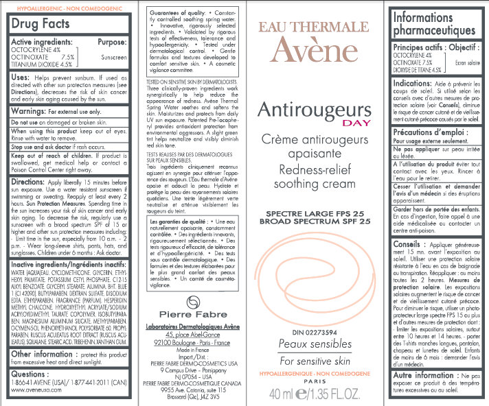 EAU THERMALE Avene Antirougeurs DAY Redness-relief soothing Cream Carton Labe