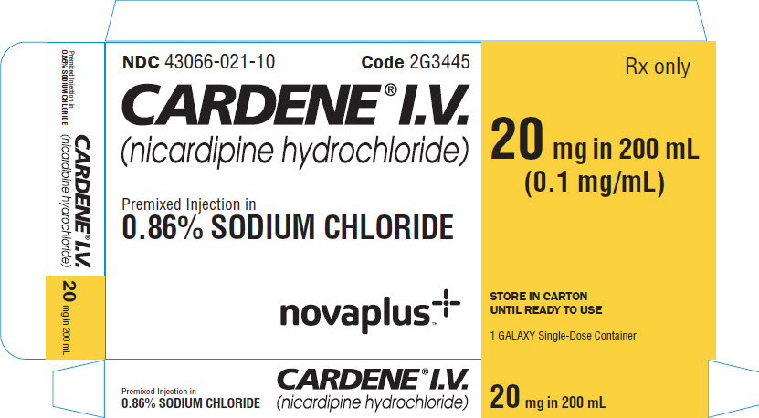 Representative Cardene Vizient 20 mg Carton Label 43066-021-10 1 of 2
