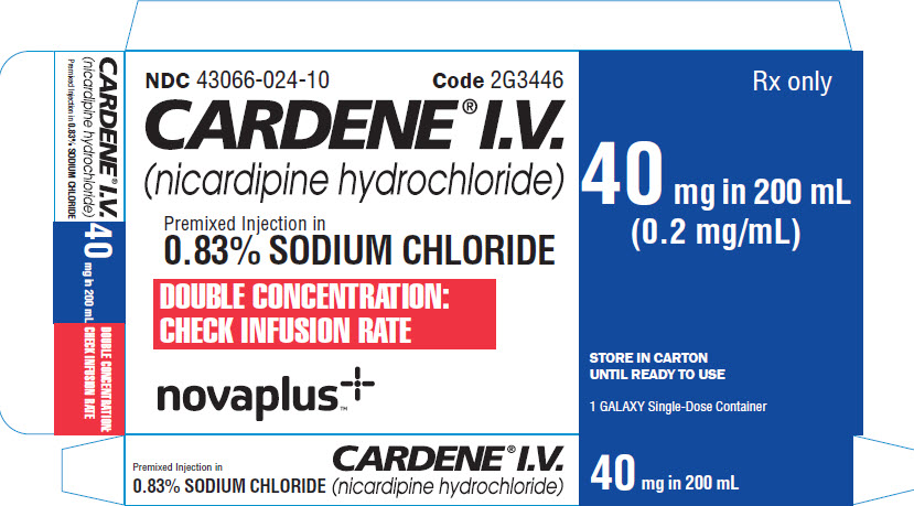 Representative Cardene Vizient 40 mg Carton Label 43066-0024-10 1 of 2