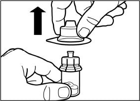 Lift the packaging off the vial adapter with a vertical movement.