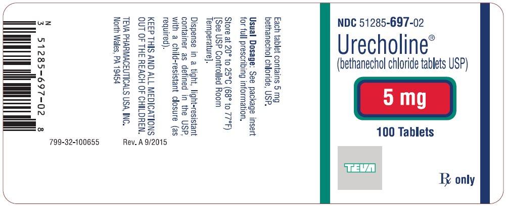 Urecholine® (bethanechol chloride tablets USP) 5 mg, 100s Label