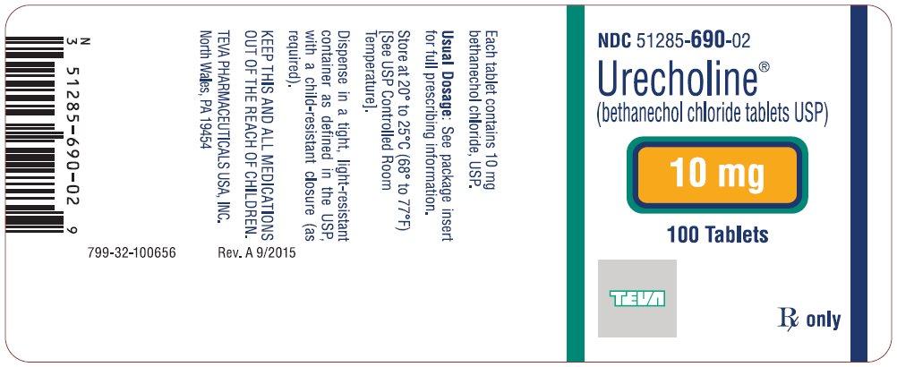 Urecholine® (bethanechol chloride tablets USP) 10 mg, 100s Label