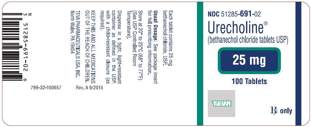 Urecholine® (bethanechol chloride tablets USP) 25 mg, 100s Label