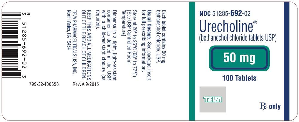 Urecholine® (bethanechol chloride tablets USP) 50 mg, 100s Label