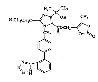The structural formula for olmesartan medoxomil is hydrolyzed to olmesartan during absorption from the gastrointestinal tract.