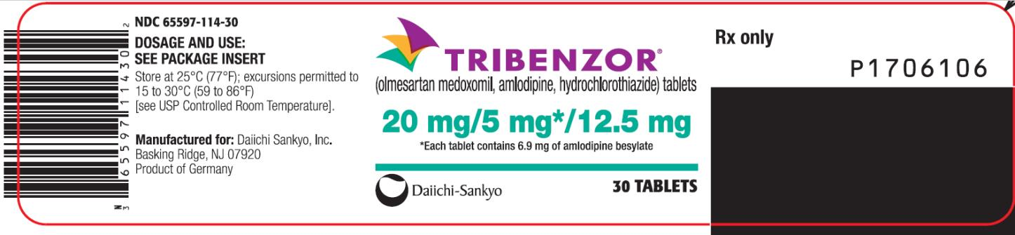 PRINCIPAL DISPLAY PANEL NDC: <a href=/NDC/65597-114-30>65597-114-30</a> TRIBENZOR (olmesartan medoxomil, amlodipine, hydrochlorothiazide) tablets 20 mg/5 mg* 12.5 mg 30 Tablets Rx Only