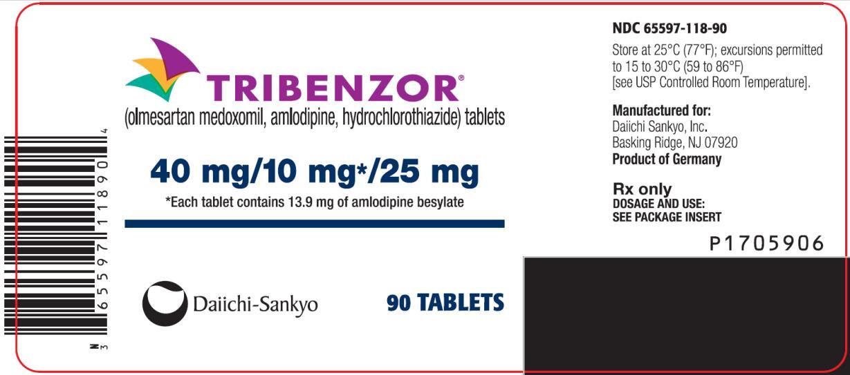 PRINCIPAL DISPLAY PANEL NDC: <a href=/NDC/65597-118-90>65597-118-90</a> TRIBENZOR (olmesartan medoxomil, amlodipine, hydrochlorothiazide) tablets 40 mg/10 mg* 25 mg 90 Tablets Rx Only