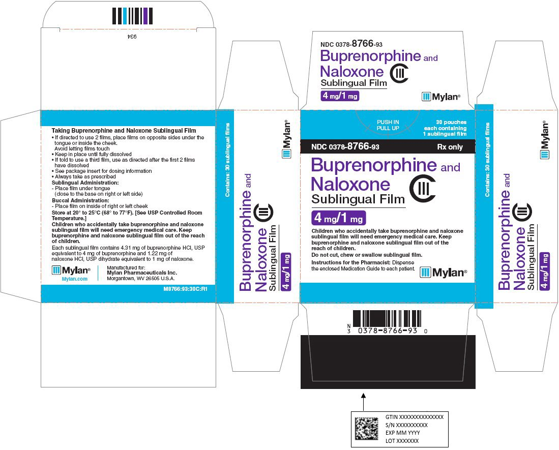 Buprenorphine and Naloxone Sublingual Film 4 mg/1 mg Carton Label