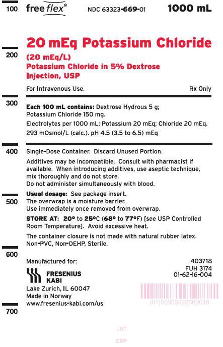 PACKAGE LABEL - PRINCIPAL DISPLAY –Potassium Chloride in 5% Dextrose Injection, USP 20 mEq/L Bag Label