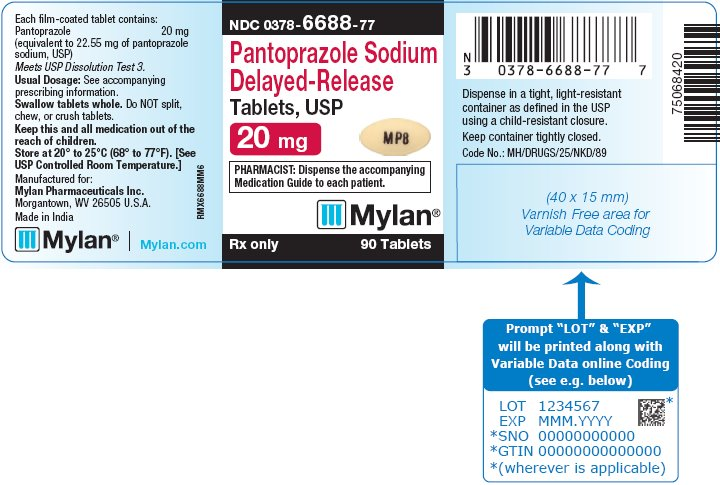 Pantoprazole Sodium Delayed-Release Tablets, USP 20 mg Bottle Label