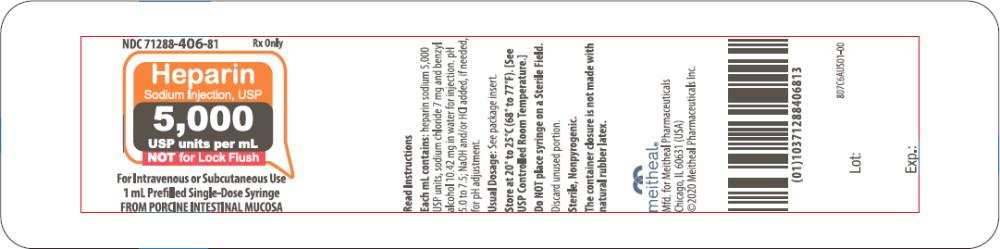 Principal Display Panel – Heparin Sodium Injection, USP 5,000 USP units per mL Blister Pack Label