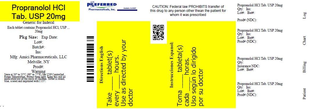 Propranolol HCl Tab. USP 20mg