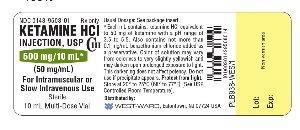 Ketamine Hydrochloride Injection, USP 50 mg/ml; 10 mL vial label