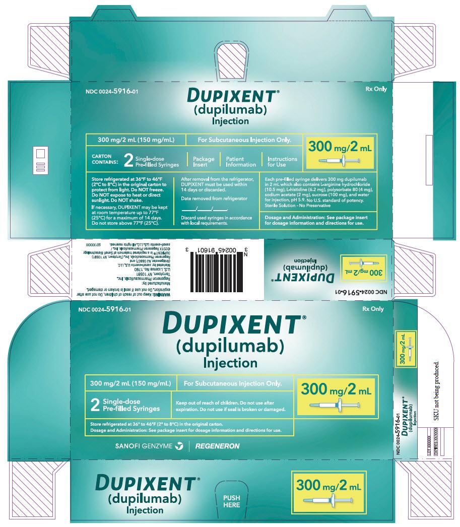 PRINCIPAL DISPLAY PANEL - 300 mg/2 mL Syringe Carton - 5916