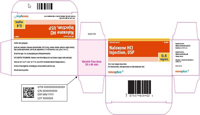 Naloxone Hydrochloride Injection, USP 0.4 mg/mL Carton Label