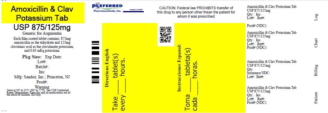 Amoxicillin & Clav Potassium Tab USP 875/125mg