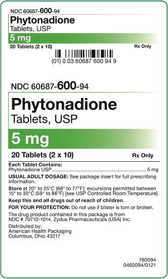 5 mg Phytonadione Tablets Carton