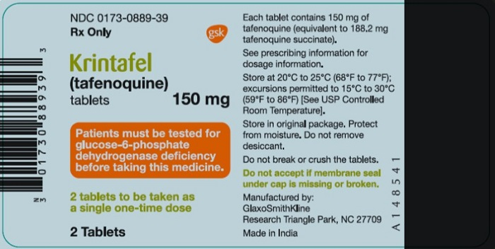 Krintafel 150 mg 2 count label