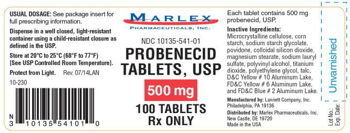 PRINCIPAL DISPLAY PANEL NDC: <a href=/NDC/10135-541-01>10135-541-01</a> Probenecid Tablets, USP 500 mg 100 Tablets Rx Only