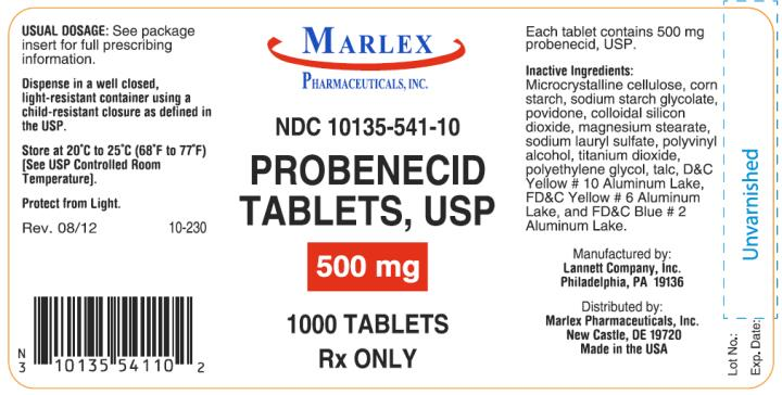 PRINCIPAL DISPLAY PANEL NDC: <a href=/NDC/10135-541-10>10135-541-10</a> Probenecid Tablets, USP 500 mg 1000 Tablets Rx Only