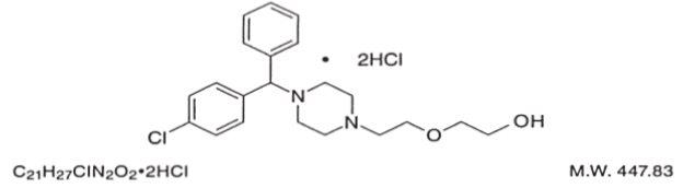 Hydroxyzine hydrochloride structural formula