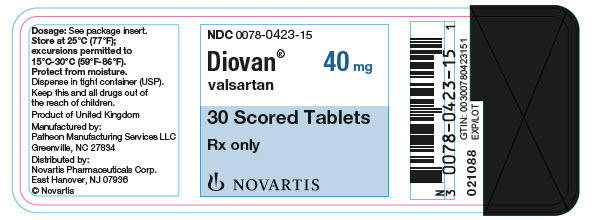 PRINCIPAL DISPLAY PANEL Package Label – 40 mg Rx OnlyNDC: <a href=/NDC/0078-0423-15>0078-0423-15</a> Diovan®  valsartan  40 mg 30 Scored Tablets