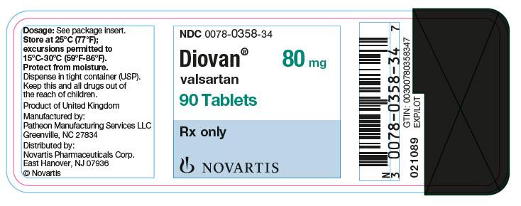 PRINCIPAL DISPLAY PANEL Package Label – 80 mg Rx OnlyNDC: <a href=/NDC/0078-0358-34>0078-0358-34</a> Diovan®  valsartan  80 mg 90 Tablets