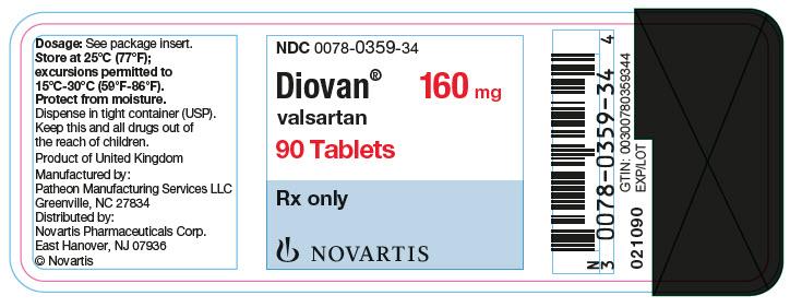 PRINCIPAL DISPLAY PANEL Package Label – 160 mg Rx OnlyNDC: <a href=/NDC/0078-0359-34>0078-0359-34</a> Diovan®  valsartan  160 mg 90 Tablets