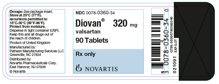 PRINCIPAL DISPLAY PANEL Package Label – 320 mg Rx OnlyNDC: <a href=/NDC/0078-0360-34>0078-0360-34</a> Diovan®  valsartan  320 mg 90 Tablets