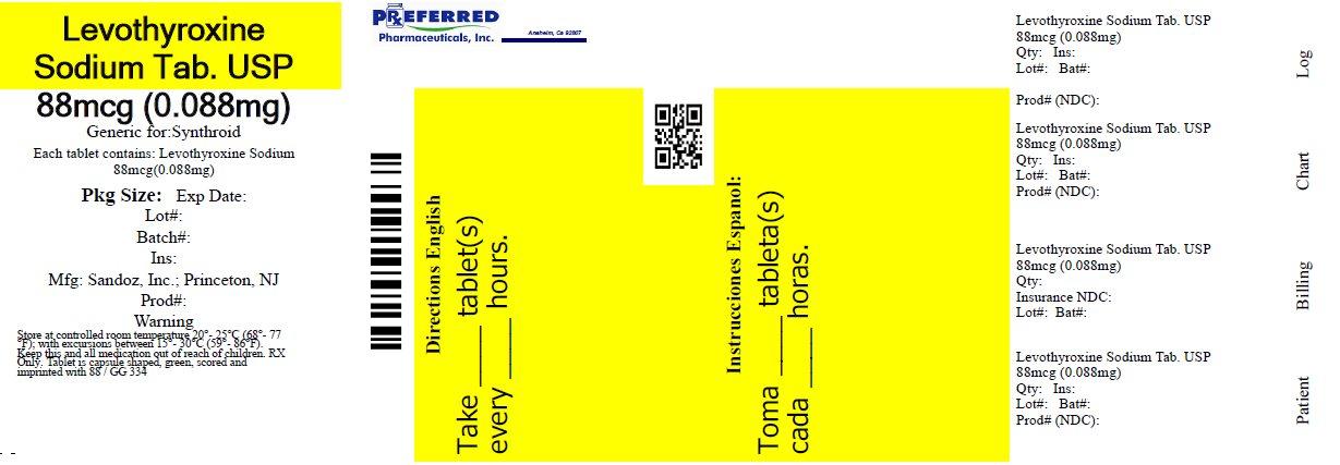 Levothyroxine Sodium Tablets USP 88mcg (0.088mg)