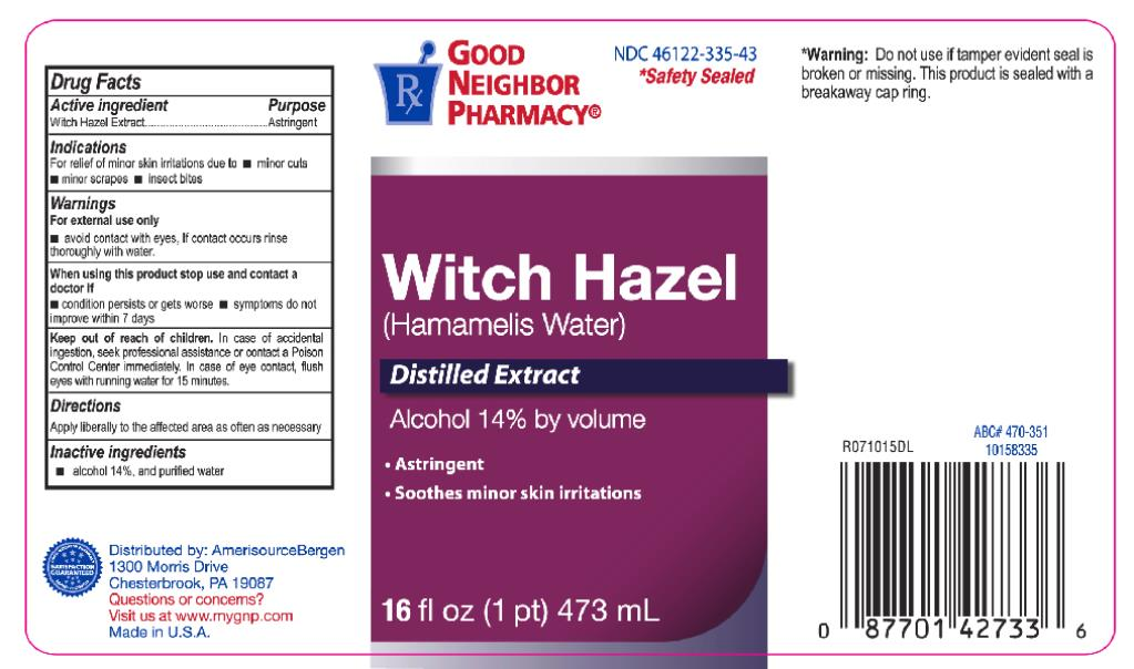 Principal Display Panel NDC: <a href=/NDC/46122-335-43>46122-335-43</a> Witch Hazel (Hamamelis Water) Distilled Extract Alcohol 14% by volume 16 fl oz (1 pt) 473 mL