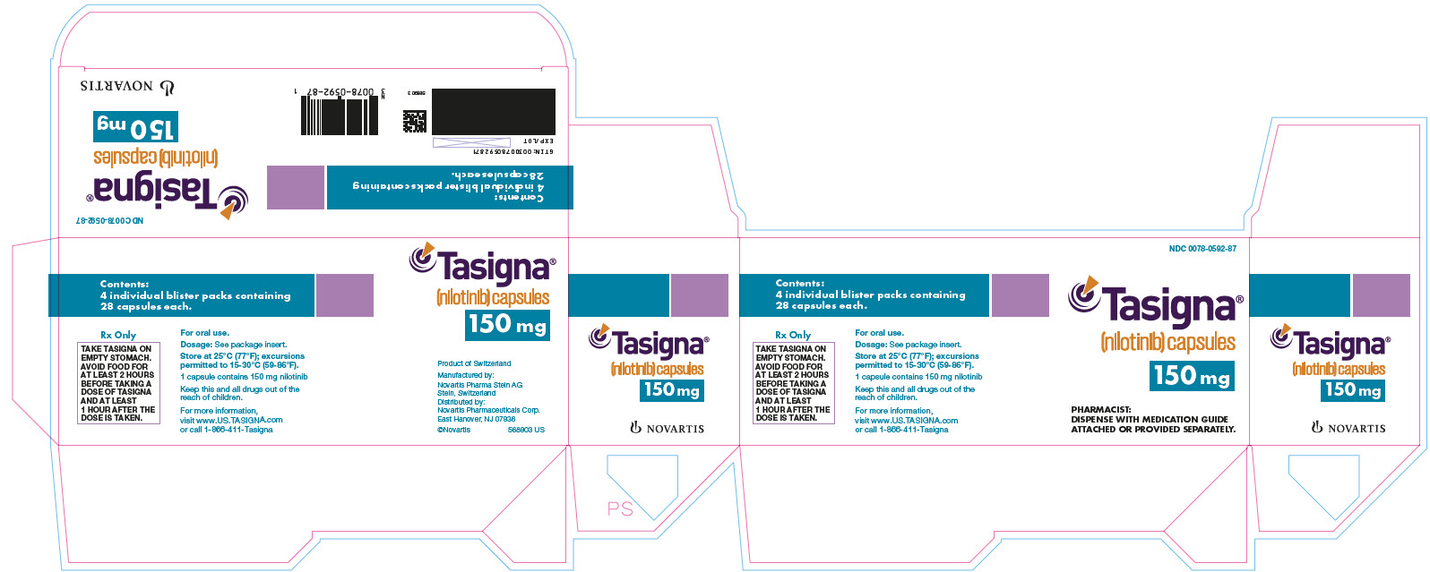 NDC: <a href=/NDC/0078-0592-87>0078-0592-87</a> Tasigna (nilotinib) capsules 150 mg