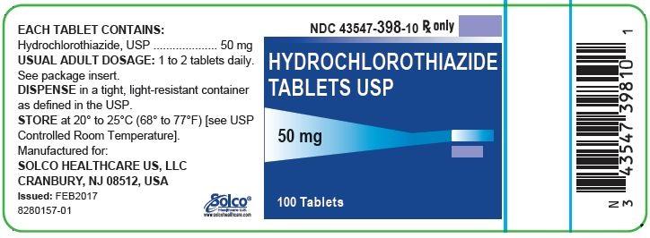 Hydrochlorothiazide Tablets, USP 50 mg 100 count.
