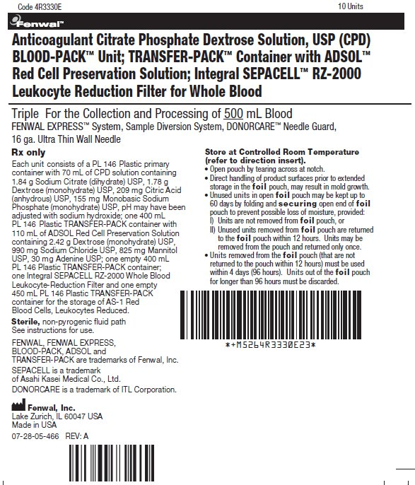 Anticoagulant Citrate Phosphate Dextrose Solution, USP (CPD) BLOOD-PACK™ Unit; TRANSFER-PACK™ Container with ADSOL™ Red Cell Preservation Solution; Integral SEPACELL™ RZ-2000 Leukocyte Reduction Filter for Whole Blood label