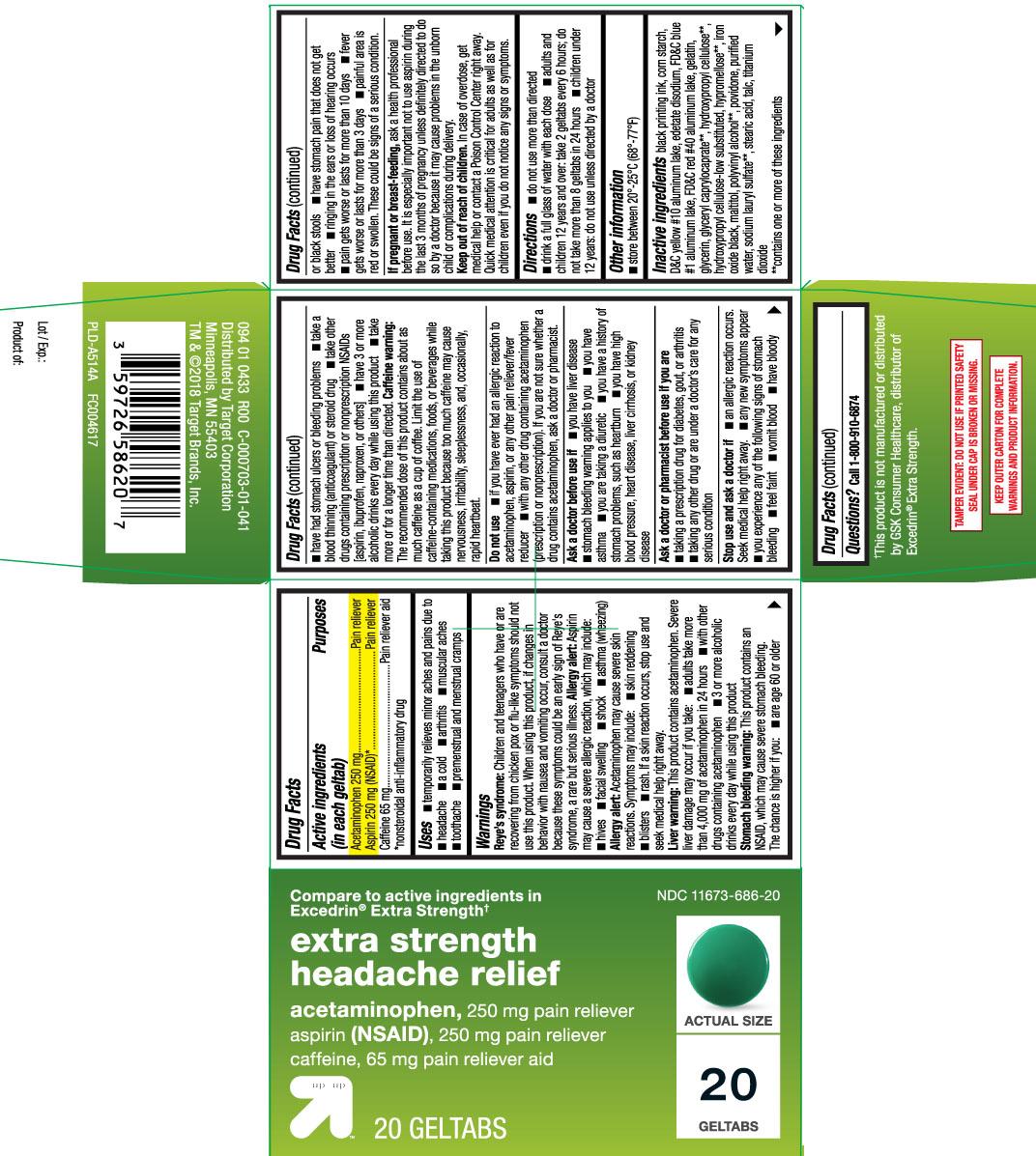 Acetaminophen 250 mg, Aspirin 250 mg (NSAID)*, Caffeine 65 mg, *nonsteroidal anti-inflammatory drug