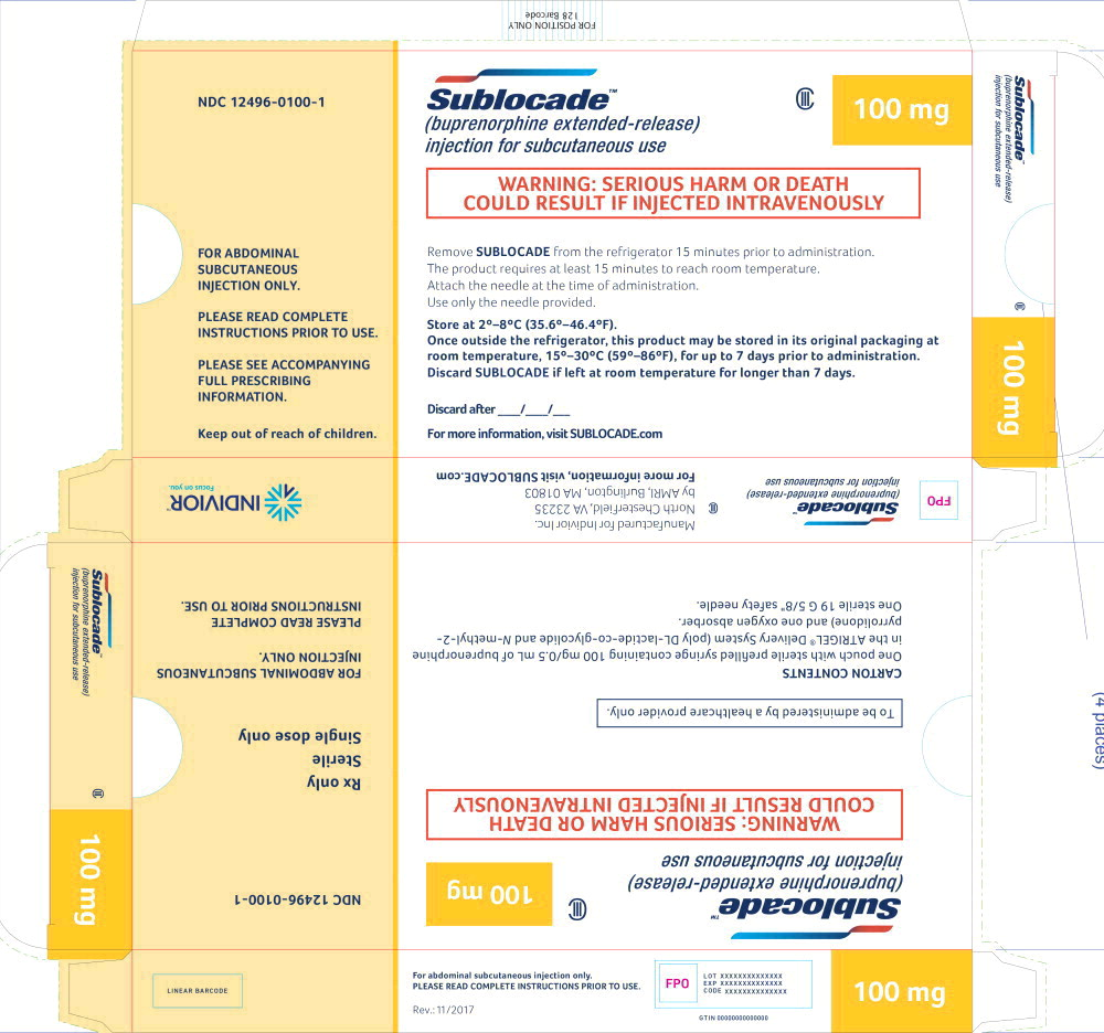 Principal Display Panel - Sublocade 100 mg Carton Label