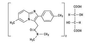 Structural formula for zolpidem tartrate
