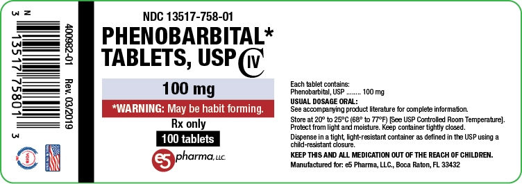 NDC: <a href=/NDC/13517-758-01>13517-758-01</a> Phenobarbital Tablets, USP 100 mg 100 Tablets Rx Only