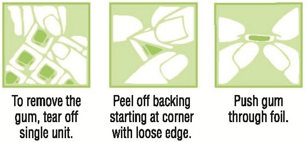 To remove the gum, tear off single unit. Peel off backing starting at corner with loose edge. Push gum through foil.