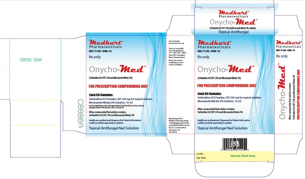 PRINCIPAL DISPLAY PANEL NDC: <a href=/NDC/71150-0786-1>71150-0786-1</a>0 Rx Only Onycho-Med (Terbinafine Hcl USP 2.5% and Miconazole Nitrate 2%) FOR PRESCRIPTION COMPOUNDING ONLY Topical Antifungal Nail Solution