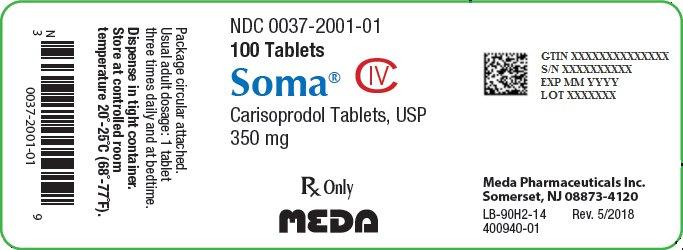 Soma Tablets 350 mg Bottle Label