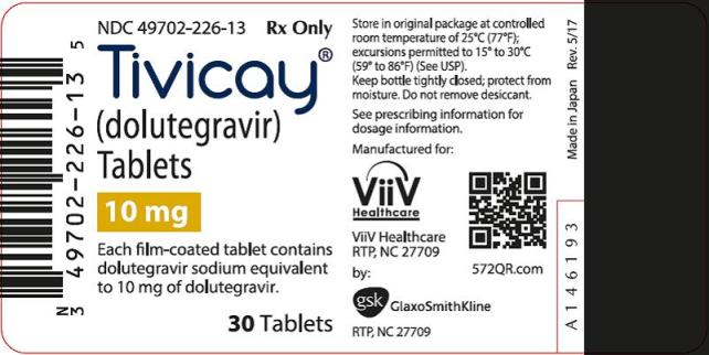 Tivicay 10 mg 30 count label
