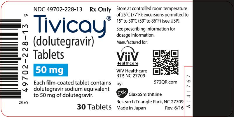 Tivicay 50 mg 30 count label
