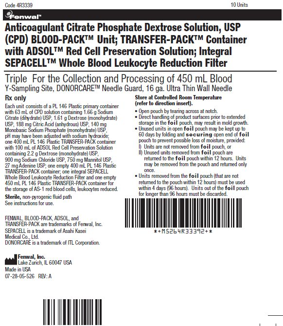 Anticoagulant Citrate Phosphate Dextrose Solution, USP (CPD) BLOOD-PACK™ Unit; TRANSFER-PACK™ Container with ADSOL™ Red Cell Preservation Solution; Integral SEPACELL™ Whole Blood Leukocyte Reduction Filter label