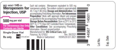 500 mg Meropenem vial label