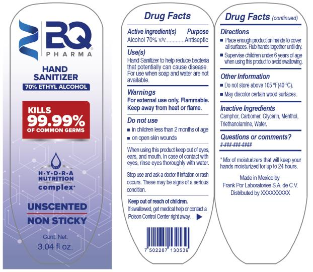 PRINCIPAL DISPLAY PANEL BQ Pharma Hand Sanitizer 70 % Ethyl Alcohol 3.04 fl oz.